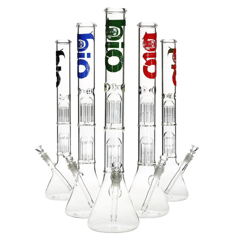 "BIO Glass Waterpipe - Beaker 22"" With 2 8Arm Tree Perc w/ 14mm Bowl - Clear"