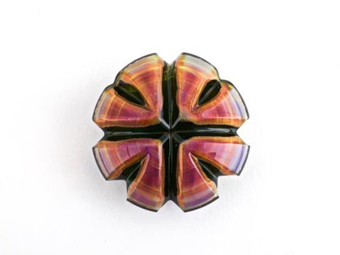 Carver B Pendant Amber Purple Illuminati Carved Glass
