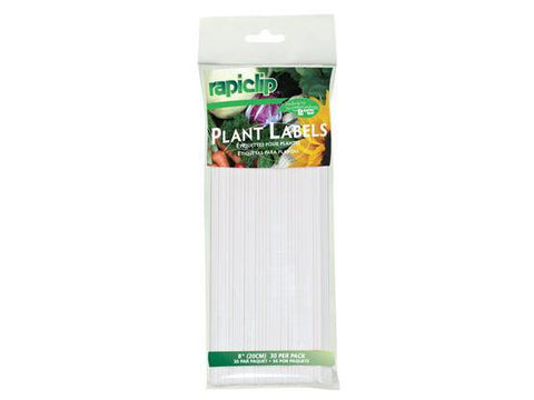"Luster Leaf RapiClip Plant Labels Stakes 8"" White 30/pack"