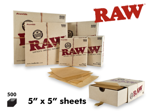 "RAW Parchment Paper Sheets 5x5"" 500/pack"
