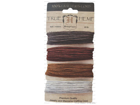Hemptique - Hemp Cord - 20 LB 4 colour Card - Bronze