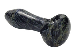 Chameleon Glass HandPipe - Spoon Black Granite - UV Reactive 17309