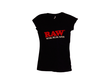 RAW TShirt Ladies V-Neck Black Short Sleeve