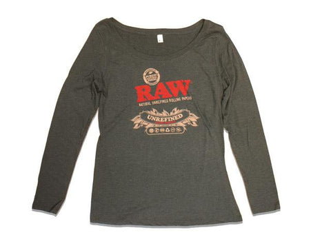 RAW TShirt Ladies Scoop Neck Long Sleeve Black