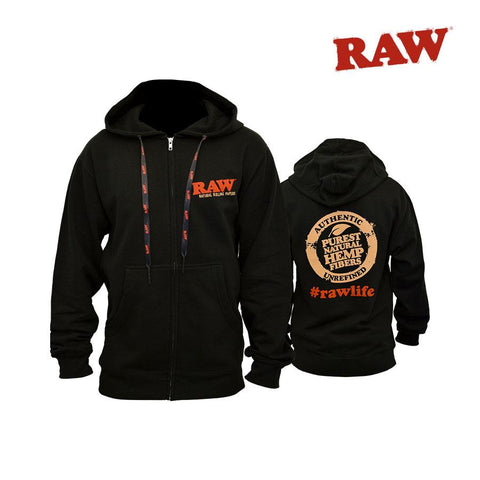 RAW SweatShirt Hooded Zip-Up Black
