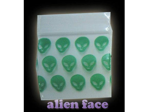 Apple Brand Zipper Lock 100pack Various Sizes Available - Pattern - Alien Face