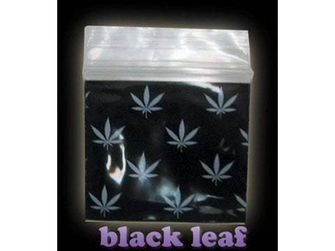 Apple Brand Zipper Lock 100pack Various Sizes Available - Pattern - Black Leaf