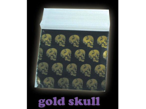 Apple Brand Zipper Lock 100pack Various Sizes Available - Pattern - Skull Gold