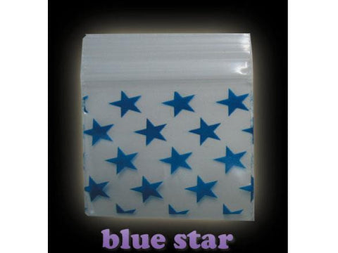 Apple Brand Zipper Lock 100pack Various Sizes Available - Pattern - Blue Star