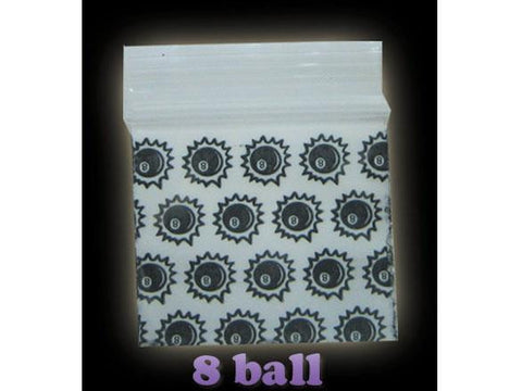 Apple Brand Zipper Lock 100pack Various Sizes Available - Pattern - 8-Ball