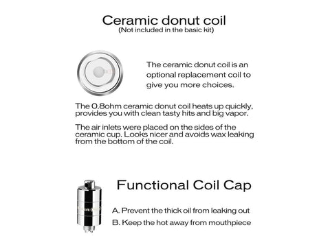Yocan Evolve Accessory - Ceramic Donut Coil - ALSO FIT Pandon - 5/pack