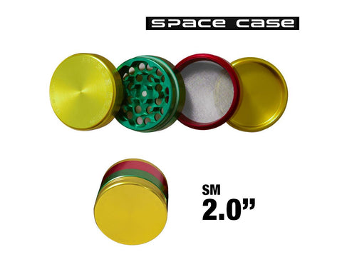 "Space Case Aircraft Grade Aluminum Grinder Rasta 4 Piece 2"" Small"