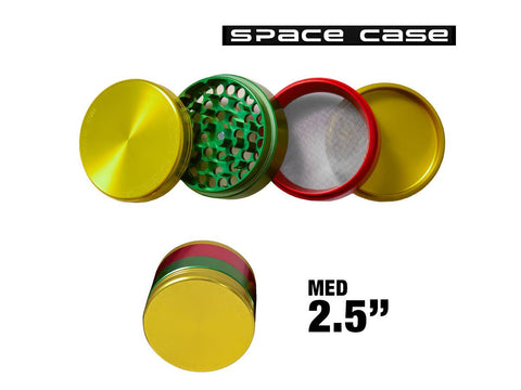 "Space Case Aircraft Grade Aluminum Grinder Rasta 4 Piece 2.5"" Medium"
