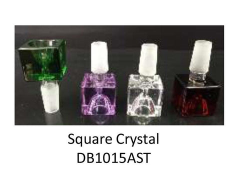 NoName Glass WaterPipe Bowl - 14mm Crystal Square Choice of Colors 20006