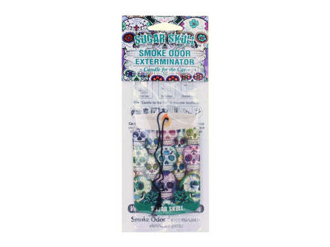"Smoke Odor Exterminator ""Candle For The Car"" Car Air Freshener - Sugar Skull"