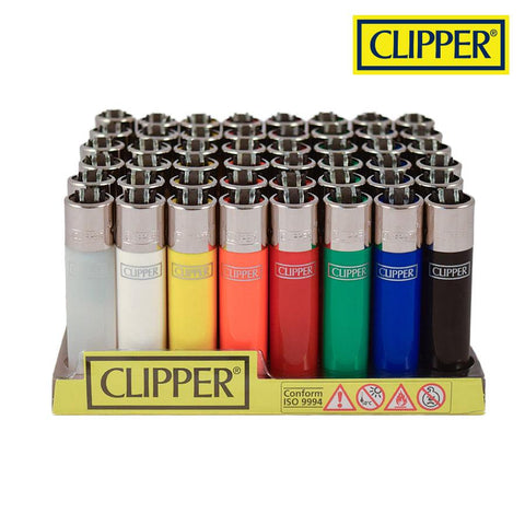 Clipper Lighter Regular Size Solid w/ Removable / Replaceable Flint / Poker 48/pack