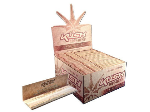 Kush Rolling Papers - KingSize 100% Hemp 50/pack 50/box