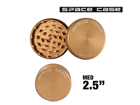 "Space Case Aircraft Grade Aluminum Grinder Gold Matte 2 Piece 2.5"" Medium"