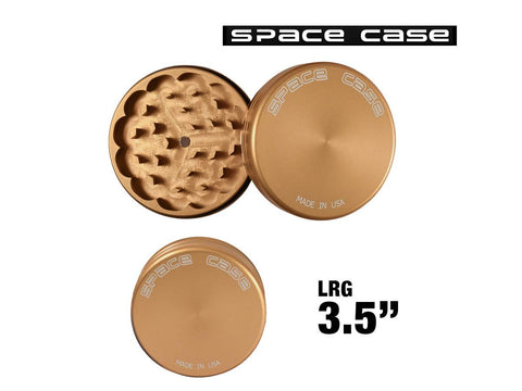"Space Case Aircraft Grade Aluminum Grinder Gold Matte 2 Piece 3.5"" Large"