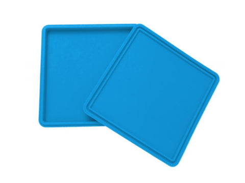 "NoGoo Nonstick Platinum Cured Silicone Slab-In-It Tray 7x7"" Blue or Green"
