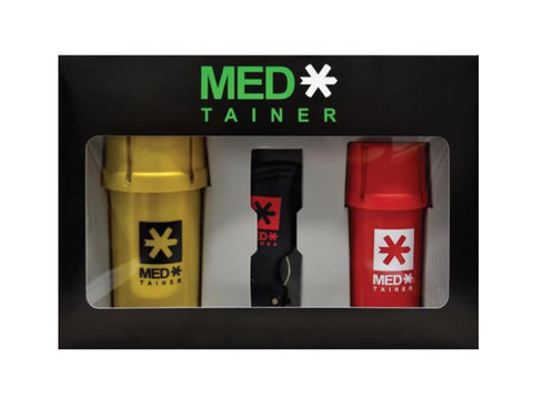 "MedTainer Air-Tight Grinder & Container - Gift Pack ""Variety Set"" XL 40dram, Regular 20dram and Toker Poker Tool"