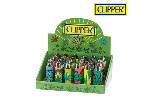 Clipper Lighter Pop Cover Leaf / Leaves w/ Removable / Replaceable Flint / Poker 24/pack