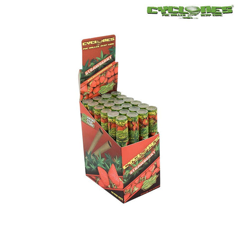 Cyclones Hemp Wraps Pre-Rolled Cones - Strawberry 2/pack 24/box