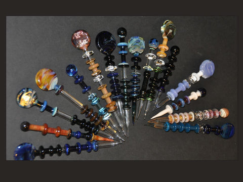 BZGlass Dabber Full Color w/ Paddle / Coin Flat Carb Cap End