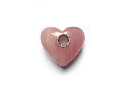 Xena Glass Natural Crystal Pipe - Rose Quartz (Heart)