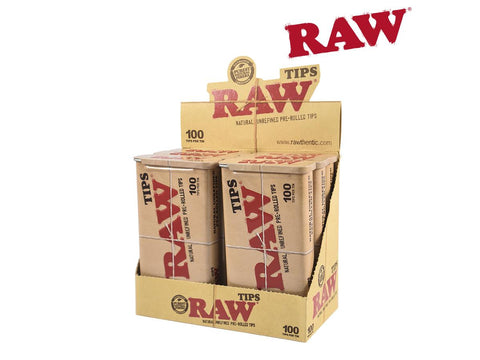 RAW Tips Pre-Rolled 100/pack In An Awesome Tin 6-Tin Wholesale Pack 22159