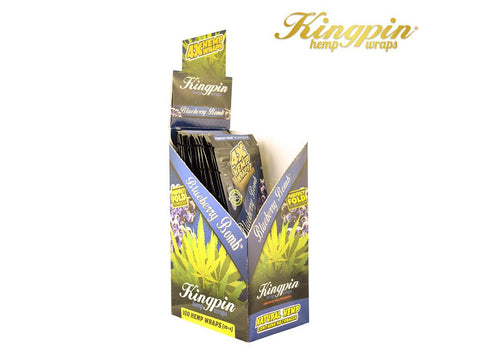 KingPin Hemp Wraps Blunt Wrap Blueberry Bomb Flavor 4/pack 25/box