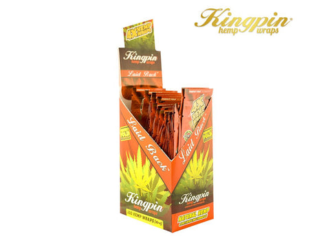 "KingPin Hemp Wraps Blunt Wrap ""Laid Back"" Flavor 4/pack 25/box"
