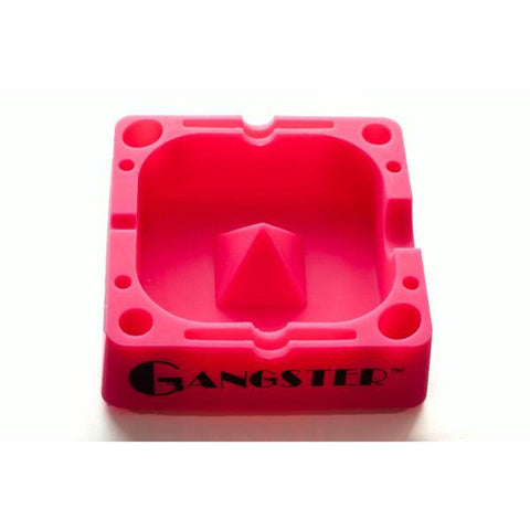 "Gangster Glass Silicone Ashtray Tap-Tray Square 5"" W/ Accessory Slots AT03 Assorted Colors"