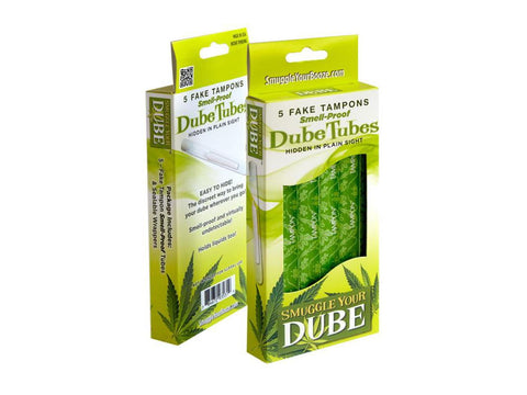 Smuggle Your Dube Brand Tampon Smell-Proof Joint Tubes / Holders W/Wrappers 5/pack