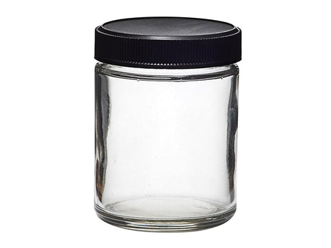 NoName Glass Jar 4oz Black Top 120/case 24777