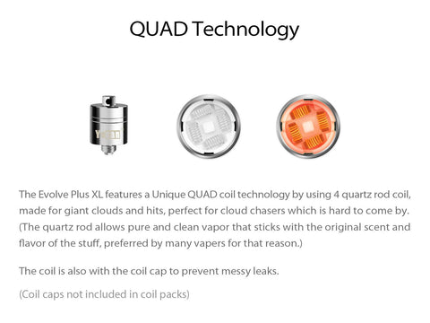 Yocan Evolve Plus XL Quad Quartz Coil 5/pack (Caps Sold Separately)
