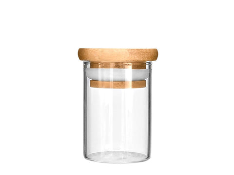NoName Glass Jar Wood Top Air-Tight Smell-Proof Seal  4oz 25070