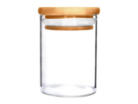 NoName Glass Jar Wood Top Air-Tight Smell-Proof Seal 18oz 25074