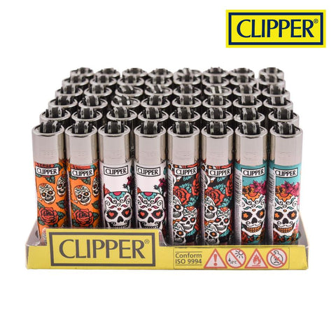 Clipper Lighter Regular Size W/ Removable / Replaceable Flint / Poker - Mexican Skull
