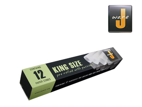JWare Rolling Papers Pre-Rolled Cones W/Tips KingSize 12/pack 25354