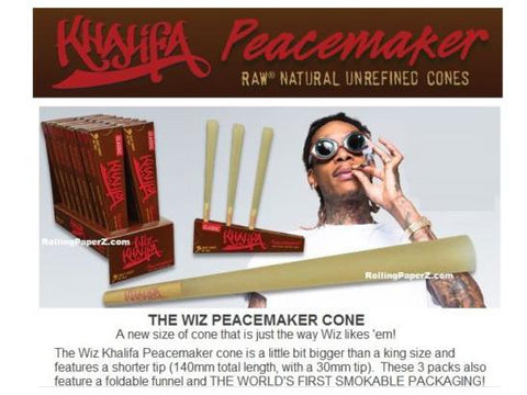 Wiz Khalifa x RAW Pre-Rolled Cones - 140mm Peacemaker Size - 3/pack