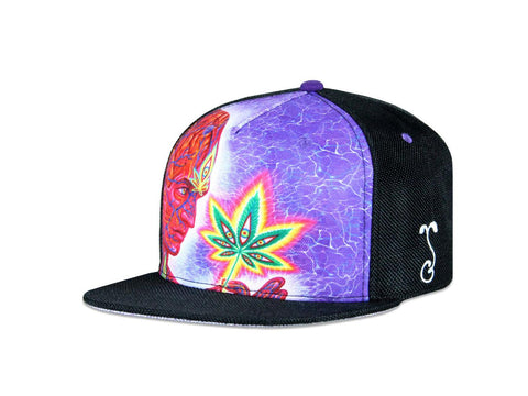 Grassroots California Hat - SnapBack Alex Grey Canna Sutra Black Choice of Sizes