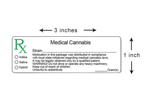 "NoName Stickers Medical Cannabis Rx Generic 3x1"" 1000/roll"