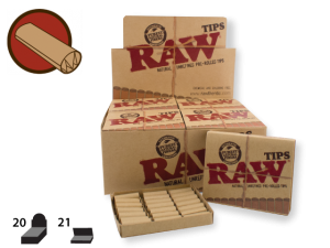 RAW Tips Pre-Rolled 21/pack 20/box