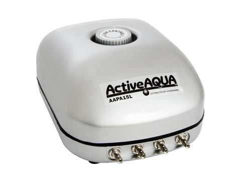 Active Aqua Air Pump For Hydroponic / Reservoir AirStones 4-Outlet 10W 15L/minute