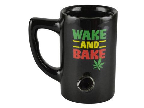 Wake & Bake Coffee Co. Ceramic Pipe Mug - 8oz Rasta