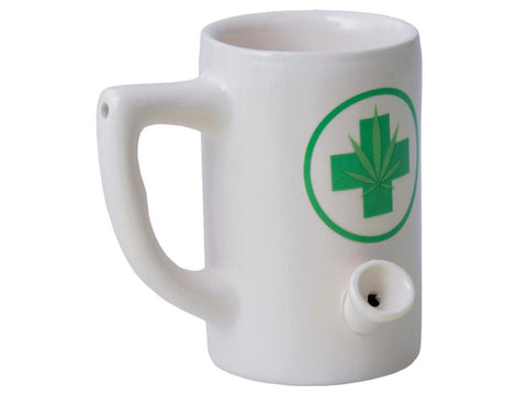 Wake & Bake Coffee Co. Ceramic Pipe Mug - 8oz White W/ Green Medical Leaf