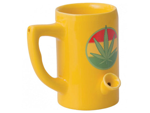 Wake & Bake Coffee Co. Ceramic Pipe Mug - 8oz Yellow W/ Rasta Leaf