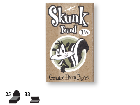 Skunk Brand Rolling Papers - 1-1/2 Size - Genuine Hemnp 50/pack 25/box