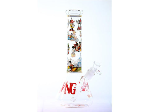 "Nice Glass WaterPipe - Beaker 13"" 7mm Welcome To Disney Decal 14mm Bowl YN1148"